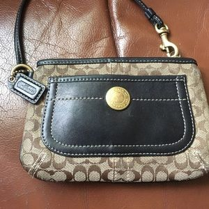 Coach Brown Signature w/ Black Leather Wristlet